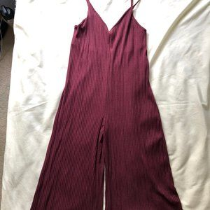 NWOT AUDREY 3+1 Wine Red Culotte Jumpsuit One Size